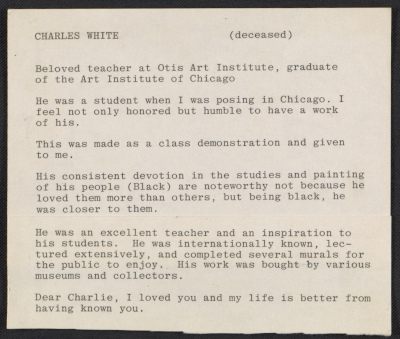 Cleo Dorman notes on Charles White