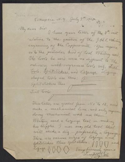 [Timothy Cole letter to unidentified recipient]
