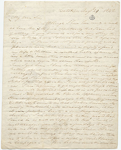 Thomas Cole letter to George W. Greene