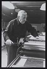 Ed Colker at his Vandercook press