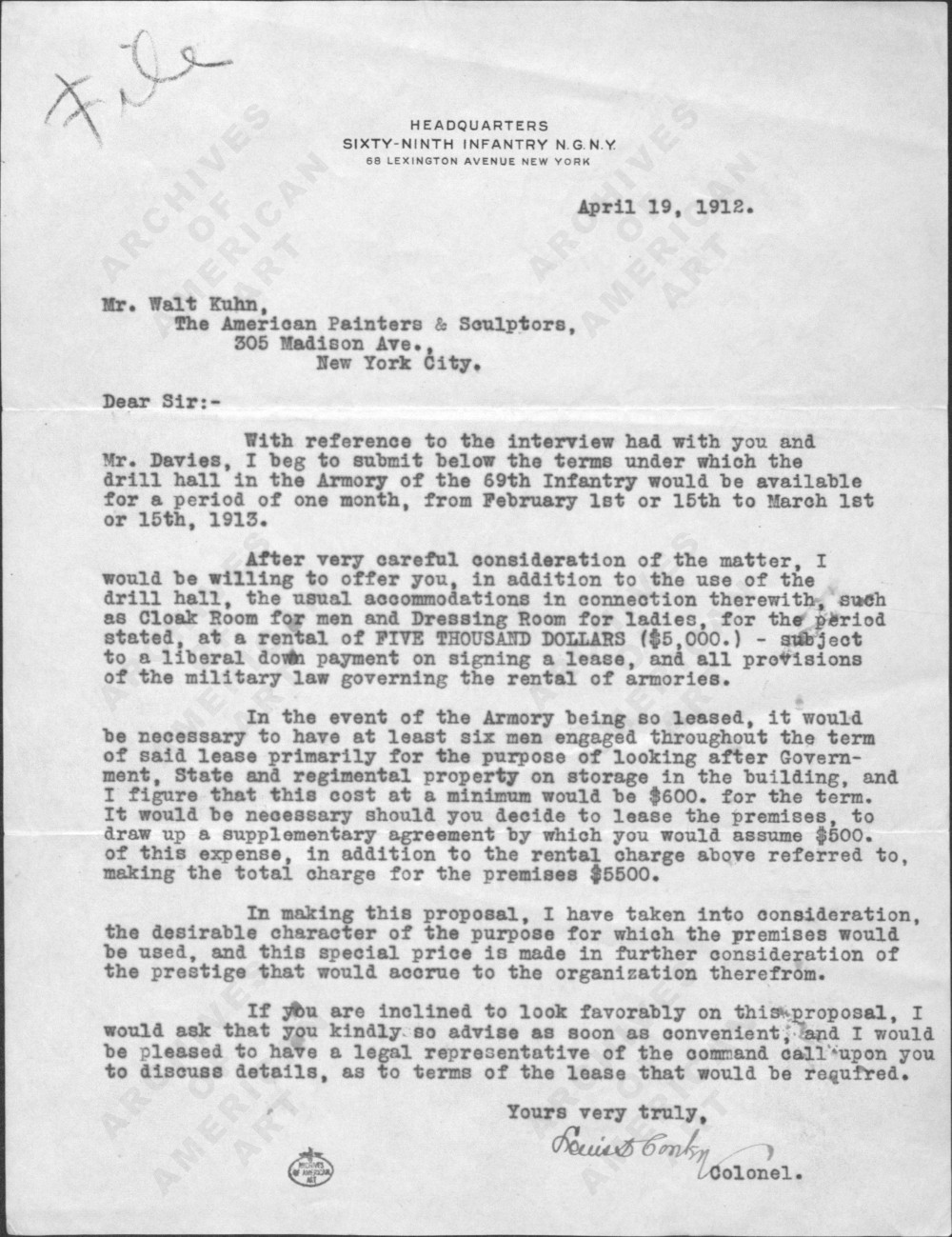 Letter from Colonel Louis Conley to Walt Kuhn, April 19, 1912