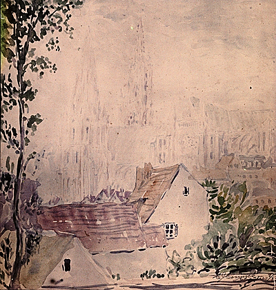 [watercolor sketch of Chartres Cathedral by Charles J. Connick]