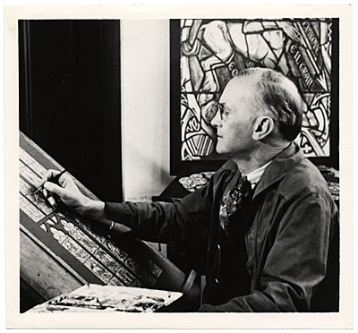 [Charles Connick working on a stained glass design]