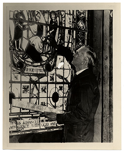 [Charles Connick at his stained glass window]