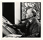 Charles Connick working on a stained glass design