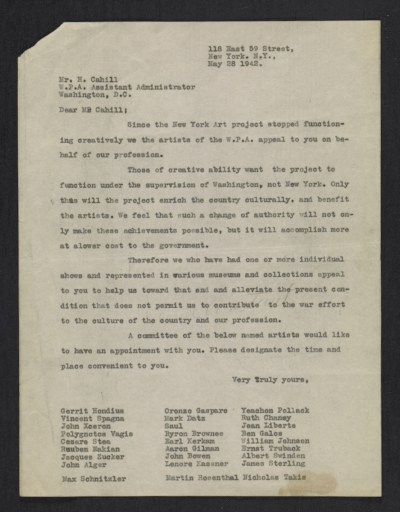 [Committee of New York artists letter to Holger Cahill]