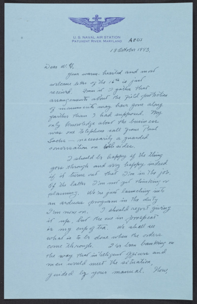 George Stout letter to W. G. Constable