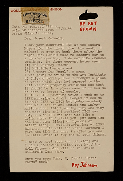 [Ray Johnson letter to Joseph Cornell]
