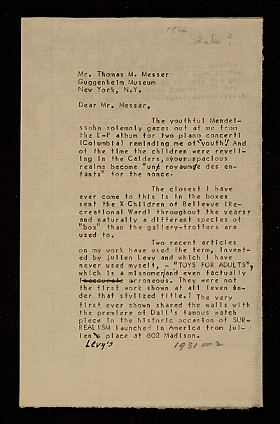 Thomas M. Messer letter to Joseph Cornell