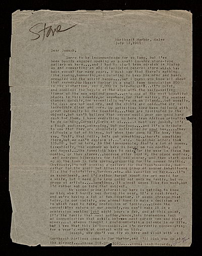 [Arthur Stone letter to unidentified recipient]