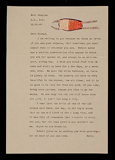 Maria Motherwell letter to Joseph Cornell