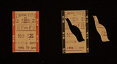 [Horse racing ticket stubs]