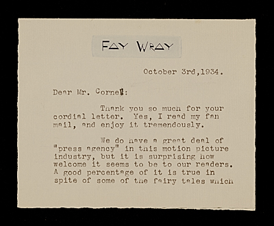 Fay Wray letter to Joseph Cornell