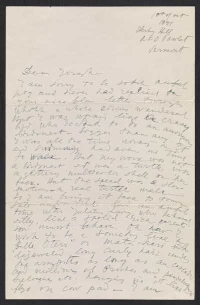 Pavel Tchelitchew letter to Joseph Cornell