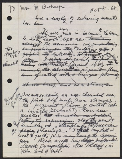 [Draft of condolence letter from Joseph Cornell to Teeny Duchamp]
