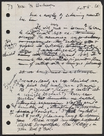 Draft of condolence letter from Joseph Cornell to Teeny Duchamp