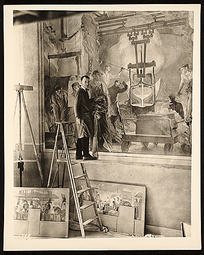 [Arthur Sinclair Covey painting mural for Kohler Company]
