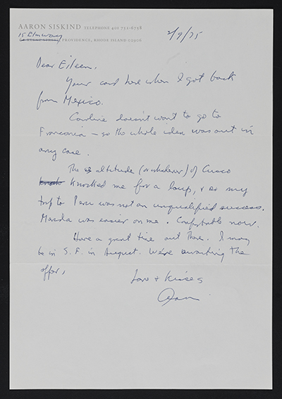 Aaron Siskind letter to Eileen Cowin