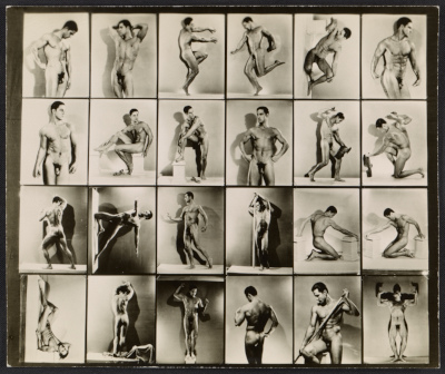 [Contact sheet with photographs of artists' model Tony Sansone]