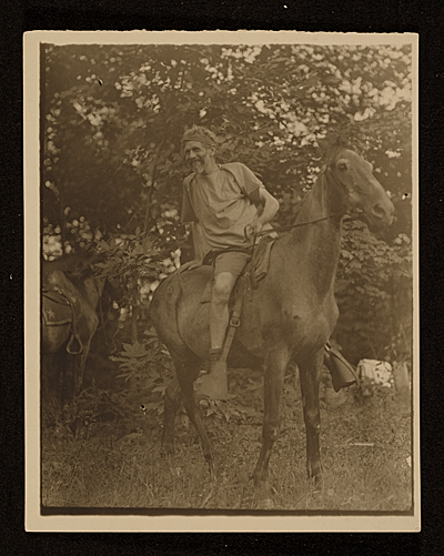 Hervey White on horseback