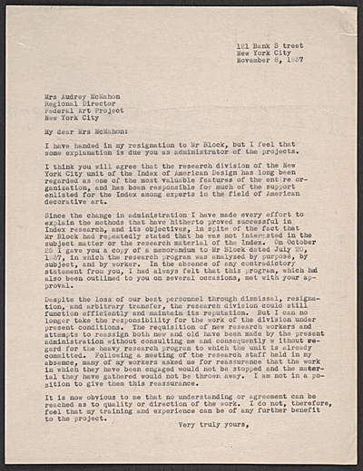 [Phyllis Crawford letter to Audrey McMahon]