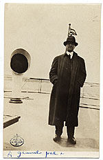 Alfred Lenz on the deck of a ship