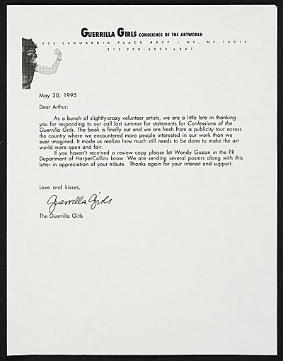Guerrilla Girls letter to Arthur Coleman Danto