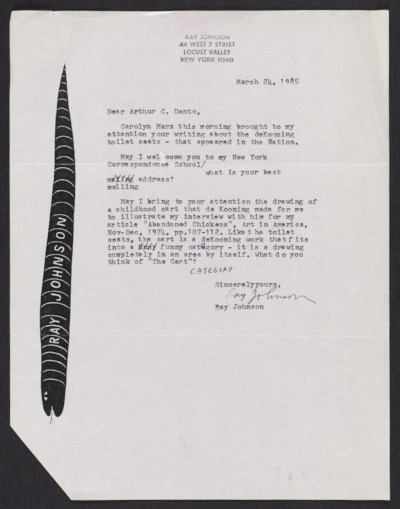 Ray Johnson, New York, N.Y. letter to Arthur Coleman Danto