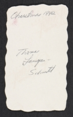 [Thomas Lanigan-Schmidt Christmas card to Arthur Danto verso 1]