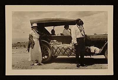 Mabel Dodge, Alfred Dasburg, Mary Foote and Tony Luhan traveling in Taos, N.M.