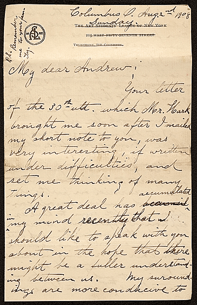 [Grace Mott Johnson letter to Andrew Dasburg]