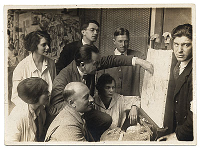 [Hans Hofmann and students at the Hofmann School in Munich]