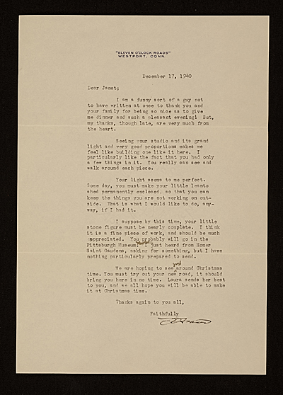 James Earle Fraser letter to Janet De Coux