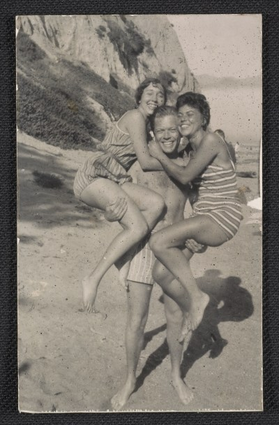 [Joan Brown, William Brown, and Jay DeFeo at Bolinas Beach]