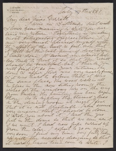 [Lockwood de Forest letter to Mary Garrett]