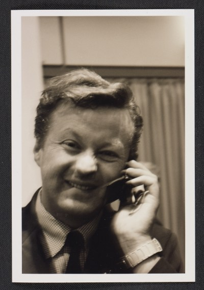 Christian Nagel talking on a cell phone