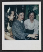 Pat Hearn with two unidentified women at a party