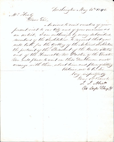 John James Abert letter to G. P. A. (George Peter Alexander) Healy