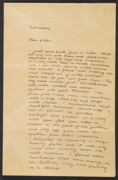 Ray Johnson letter to Helen DeMott