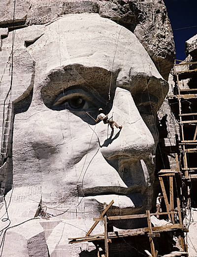 Carving of Abraham Lincoln at Mount Rushmore