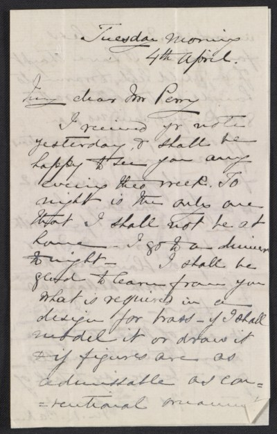 [Maria Oakey Dewing letter to Mr. Perry]