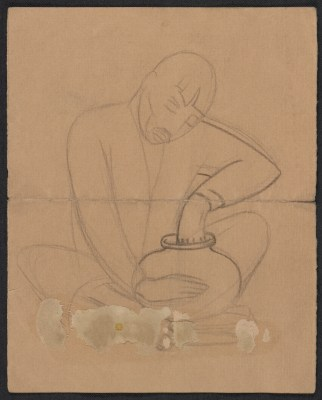 Sketch of a seated man shaping a pot