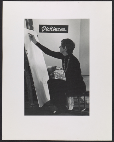 Eleanor Dickinson at her exhibit Line drawing