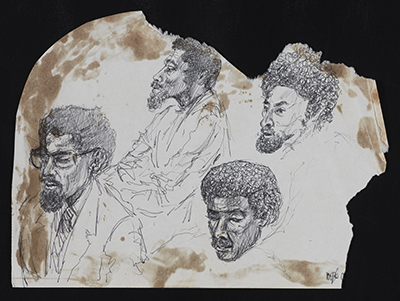 [Ink sketch of AfriCOBRA members at the CONFABA Conference, Evanston, IL]