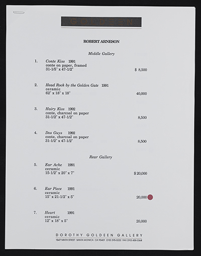 [Price list for art by Robert Arneson]