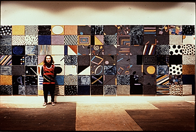 [Jun Kaneko standing with Arabia Wall]