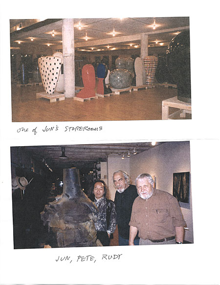 [Jun Kaneko's storeroom and Jun Kaneko, Peter Voulkos, and Rudy Autio]