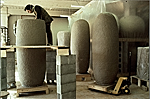 Jun Kaneko working on one of his Dango sculptures