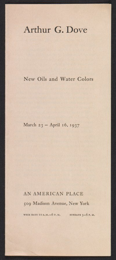 [An American Place catalog for Arthur G. Dove, new oils and water colors exhibition]