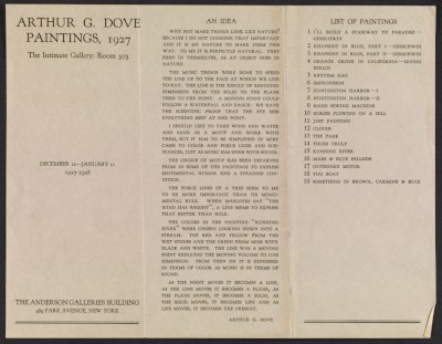 Anderson Galleries catalog for Intimate Gallery Arthur G. Dove Paintings, 1927 exhibit